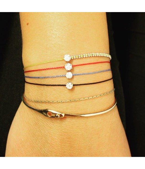 """Redline Armband """"Illusion"""" Weißgold mit rotem Faden"""
