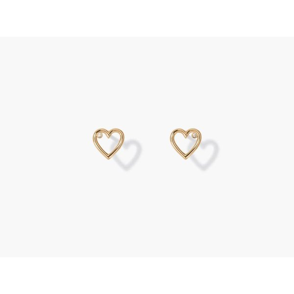 Ohrringe Mini Charms Coeur mit Diamant