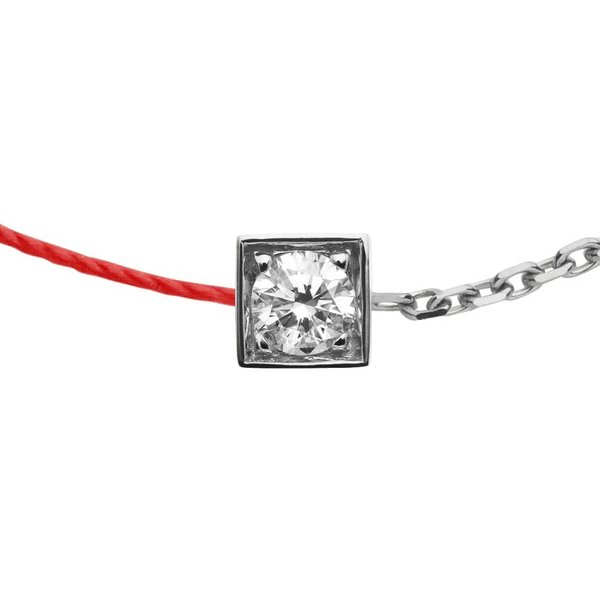 Armband CUBE double rouge in 18 Kt Weißgold