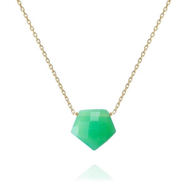 18 Kt Gold Halsschmuck Arrow mit grünem Chalcedon
