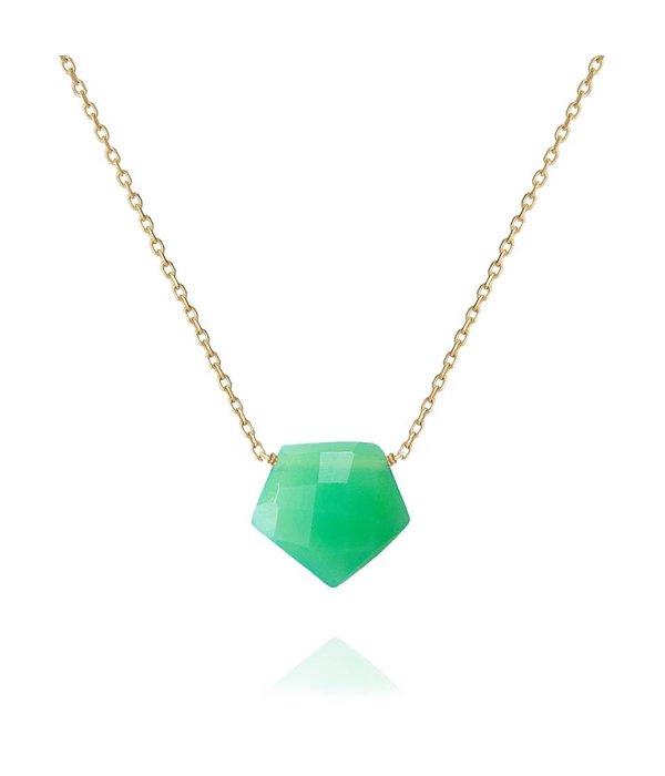 Perle de Lune 18 Kt Gold Halsschmuck Arrow mit grünem Chalcedon