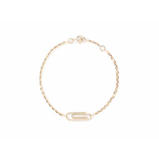 "Aurélie Bidermann 18 Kt Goldarmband ""Büroklammer"" mit Diamanten"