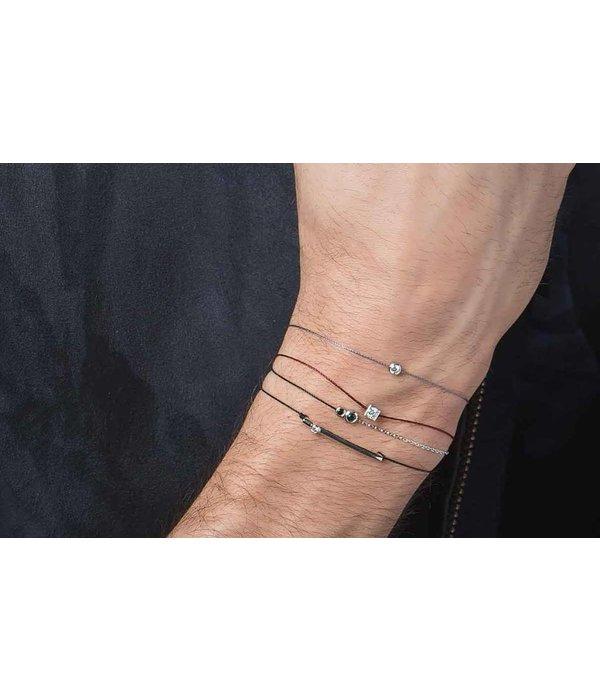 Redline Armband TUBE MEN Weißgold mit schwarzem Diamant