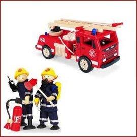 Pintoy Brandweerauto met 2 brandweermannen