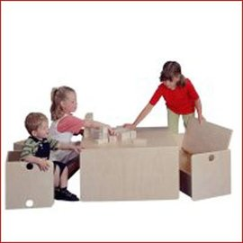 Van Dijk Toys Houten Kubusmeubilair Tafel/bank kleuter