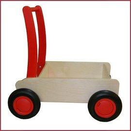 Van Dijk Toys Stoere houten duwwagen/kar - loopwagen Rood