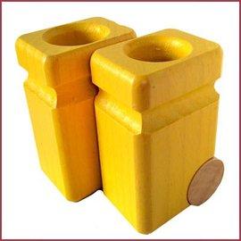 Fagus Set van 2 gele vuilnisbakken
