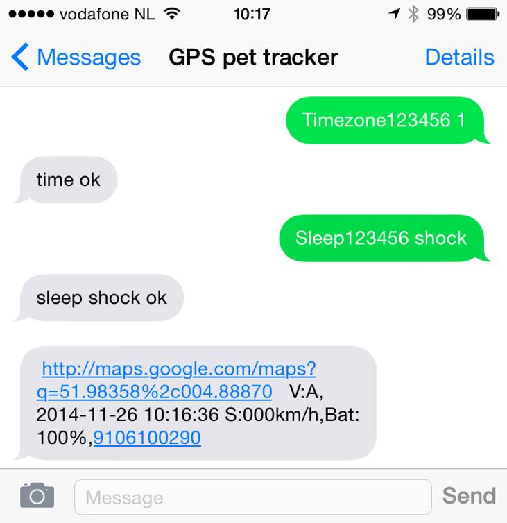 GPS tracker voorbeeld locatie SMS