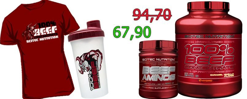 Scitec Nutrition Hydro Beef Protein 2000g + 200 Beef Amino Tabs + Shaker + Shirt