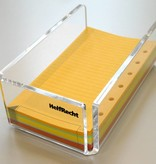 Acryl-Zettelbox gefüllt mit 500 farbigen Notizzetteln