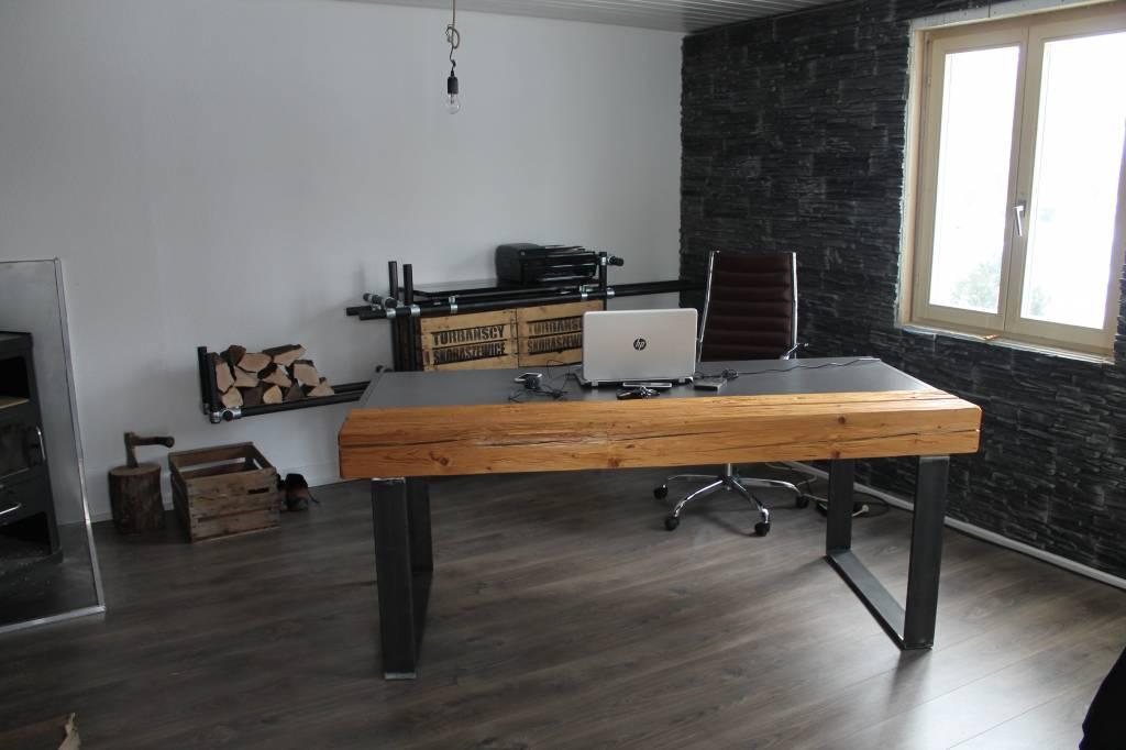clp metall schreibtisch narada industrial design h he 82 cm shabby chic schwarz smash. Black Bedroom Furniture Sets. Home Design Ideas