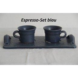 "Weißiger Keramik Espresso-Set ""blau / rose"" (1 Tablett + 2 Tassen)"
