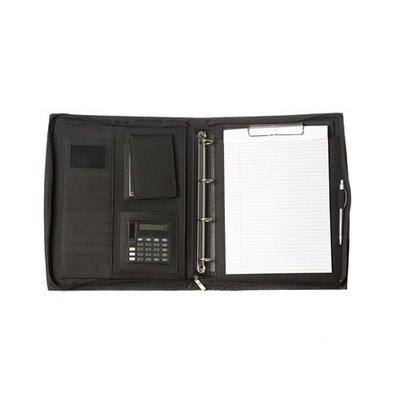 Kunstlederen A4 ordermap met ringband, calculator en rits