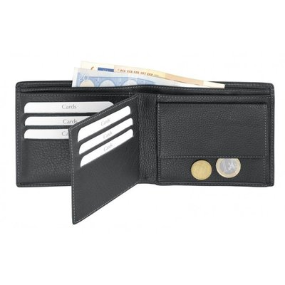 Leren portemonnee met geheimvak voor briefgeld en creditcards