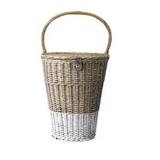Bloomingville Basket with handle, nature/White