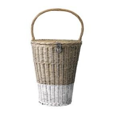 Basket with handle, nature/White