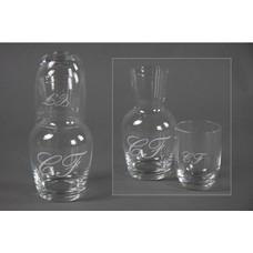 Decostar, Countryfield Wasserflasche mit Glas und CF Monogram