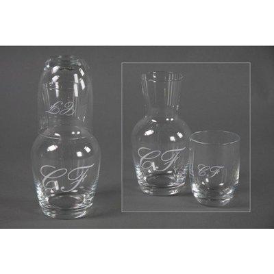 wasserflasche mit glas und monogram cf von countryfield. Black Bedroom Furniture Sets. Home Design Ideas