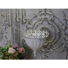 Chic Antique Übertopf zum Aufhängen & Spitzenkante, Antique weiß
