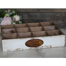 Chic Antique Holzkasten mit 12 Fächern