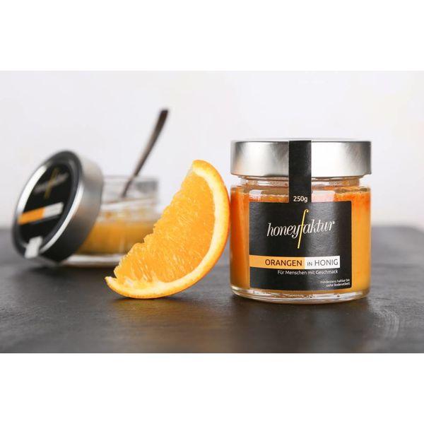 Orangen in Honig - Honigspezialitäten von honeyfaktur