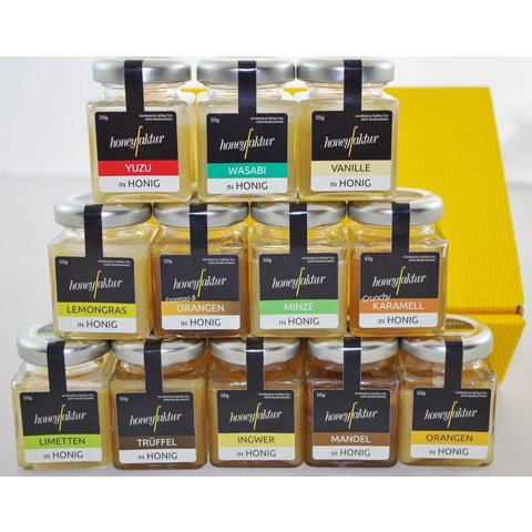 Zwölf verschiedene Honigspezialitäten
