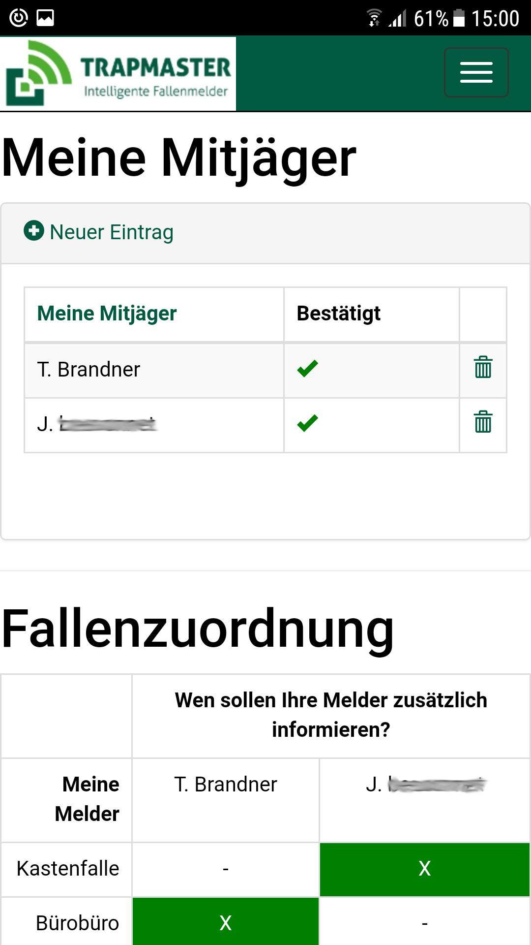 Benutzerfreundliche Mitjäger Benachrichtigung Fallenmelder TRAPMASTER Professional