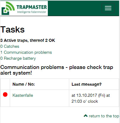 TRAPMASTER trap alert tasks