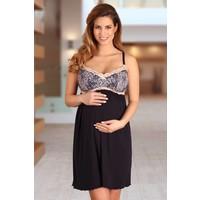 Zwangerschapsnachthemd / Voedingsnachthemd Navy Blue/Pink