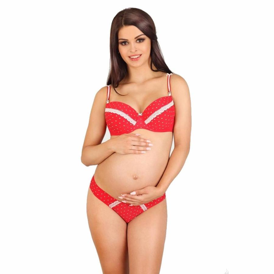 Voedingsbh / Zwangerschapsbh White Hearts voorgevormd met beugel