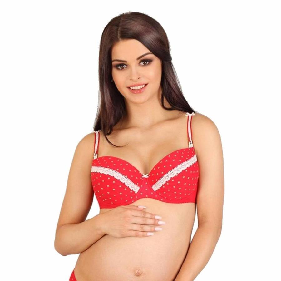 Voedingsbh / Zwangerschapsbh White Hearts voorgevormd met beugel-1