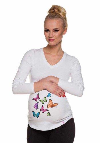 Zwangerschapsshirt Lange Mouw Butterflies