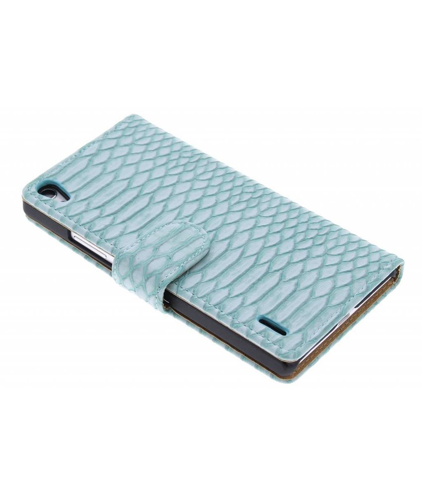Turquoise slangen booktype hoes Huawei Ascend P7