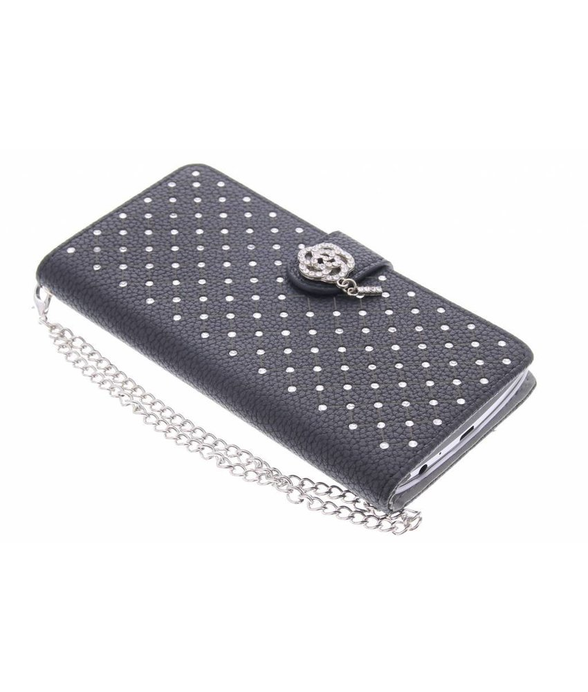 Zwart chique strass booktype hoes LG G3