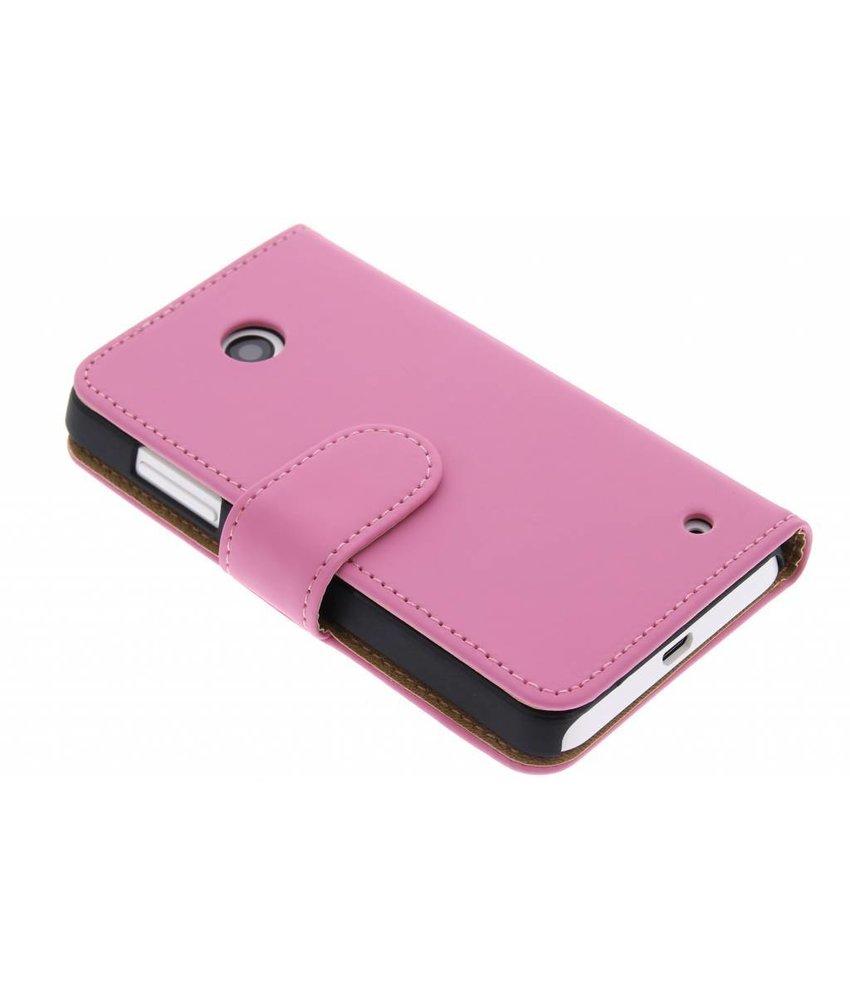 Roze effen booktype hoes Nokia Lumia 630 / 635