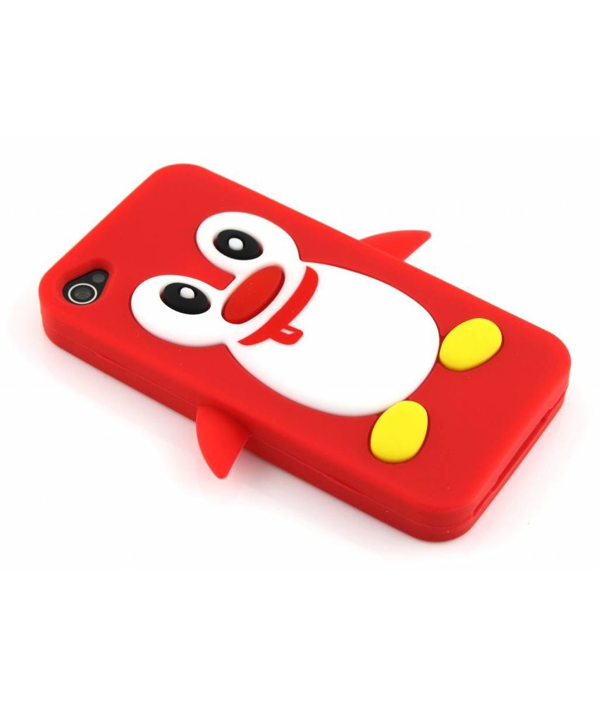 Rood pinguin siliconen hoesje iPhone 4(s)