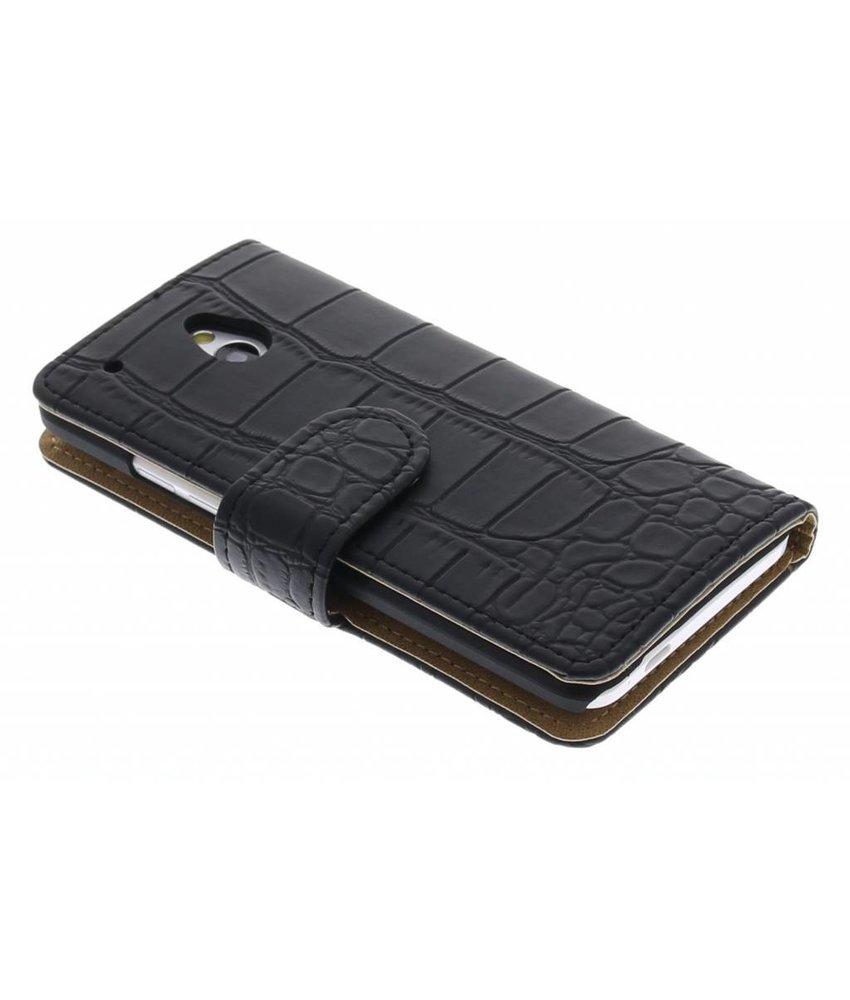 Zwart krokodil booktype hoes HTC One Mini