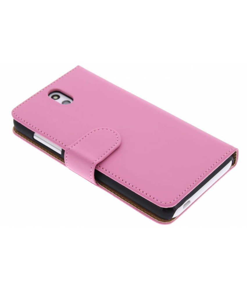 Roze effen booktype hoes HTC Desire 610