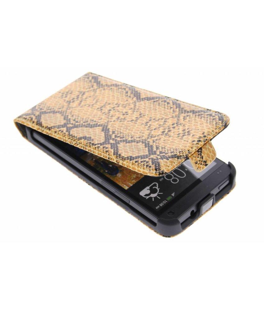 Cognac slangenprint flipcase HTC One