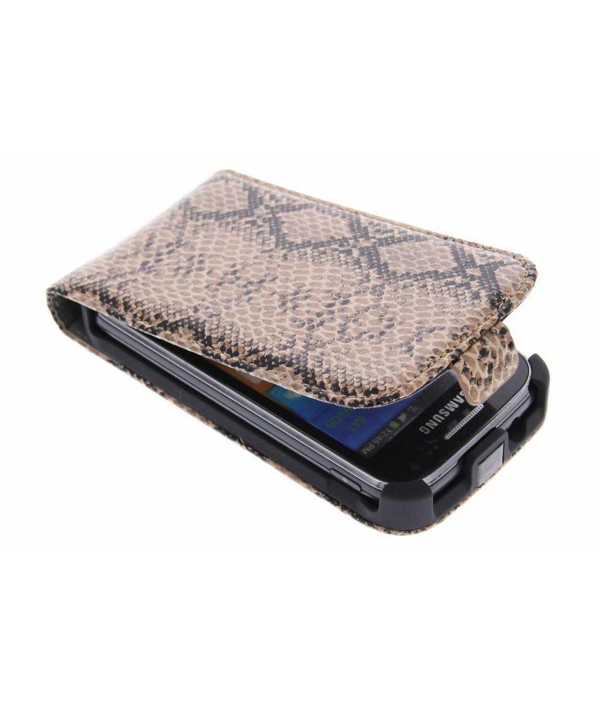 Bruin slangenprint flipcase Samsung Galaxy Ace 2
