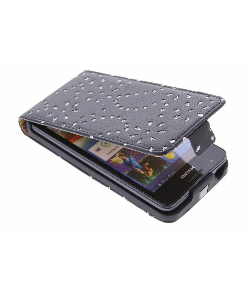 Zwart bloemblad design flipcase Huawei Ascend G510