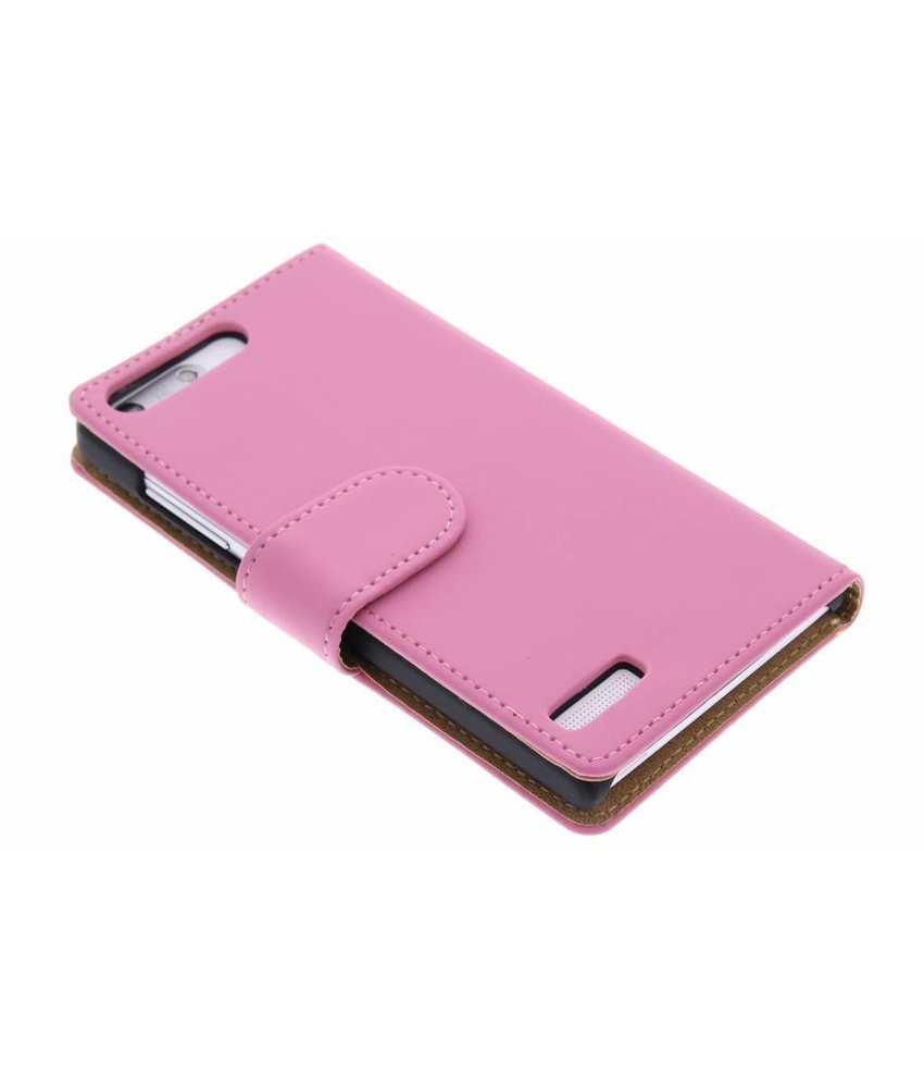 Roze effen booktype hoes Huawei Ascend G6