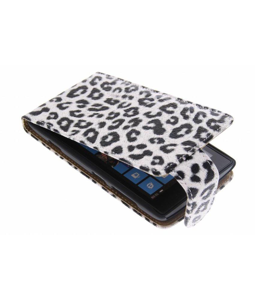 Zwart/wit luipaard flipcase Nokia Lumia 520 / 525