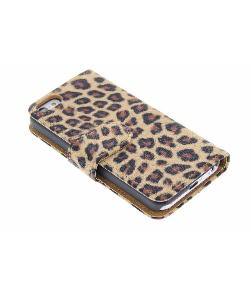 Bruin luipaard booktype hoesje iPhone 5c