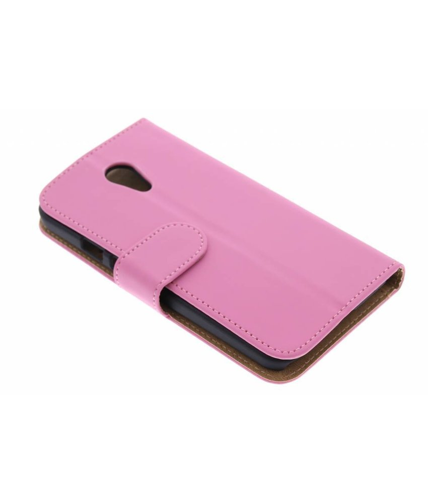 Roze effen booktype hoes Motorola Moto G 2nd Gen 2014