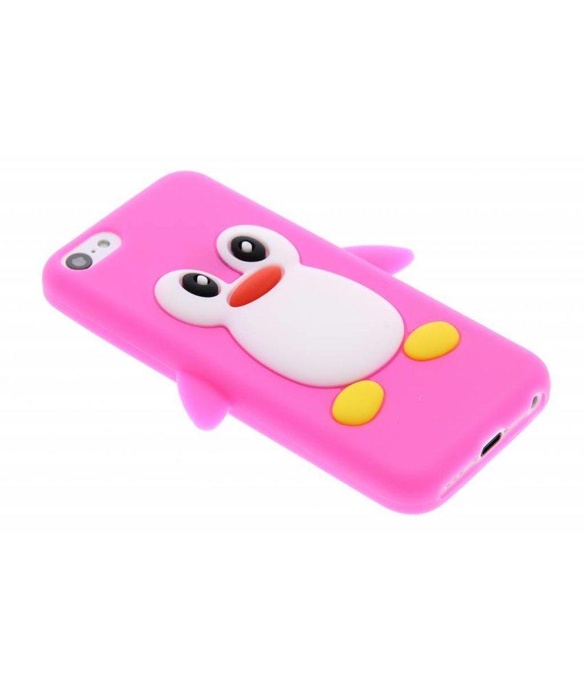 Fuchsia pinguin siliconen hoesje iPhone 5c