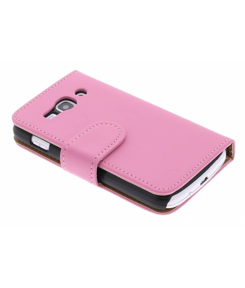 Roze effen booktype hoes Samsung Galaxy Ace 3