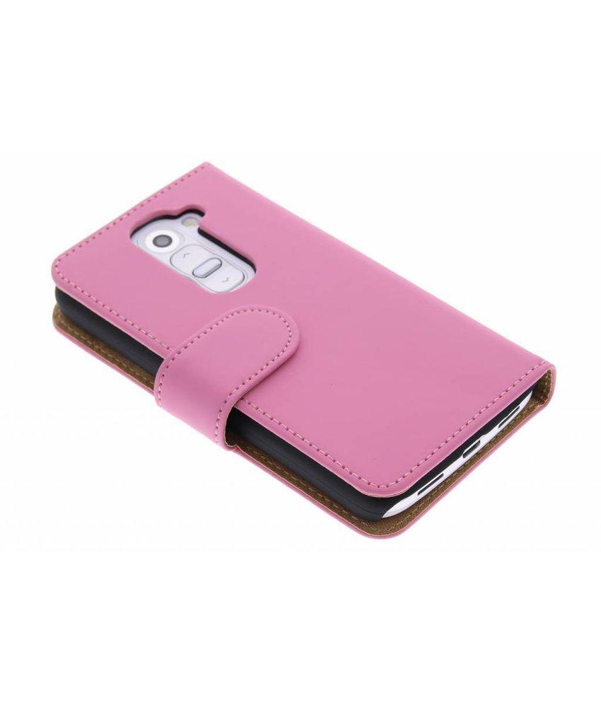 Roze effen booktype hoes LG G2 Mini