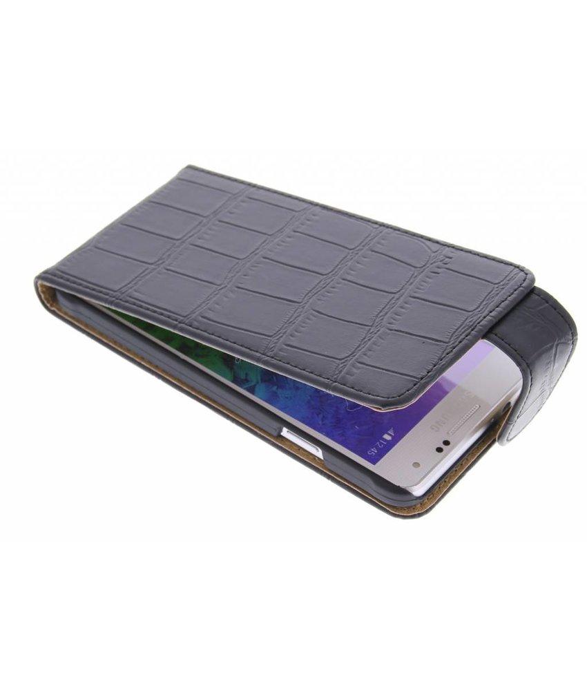 Zwart krokodil flipcase Samsung Galaxy Alpha