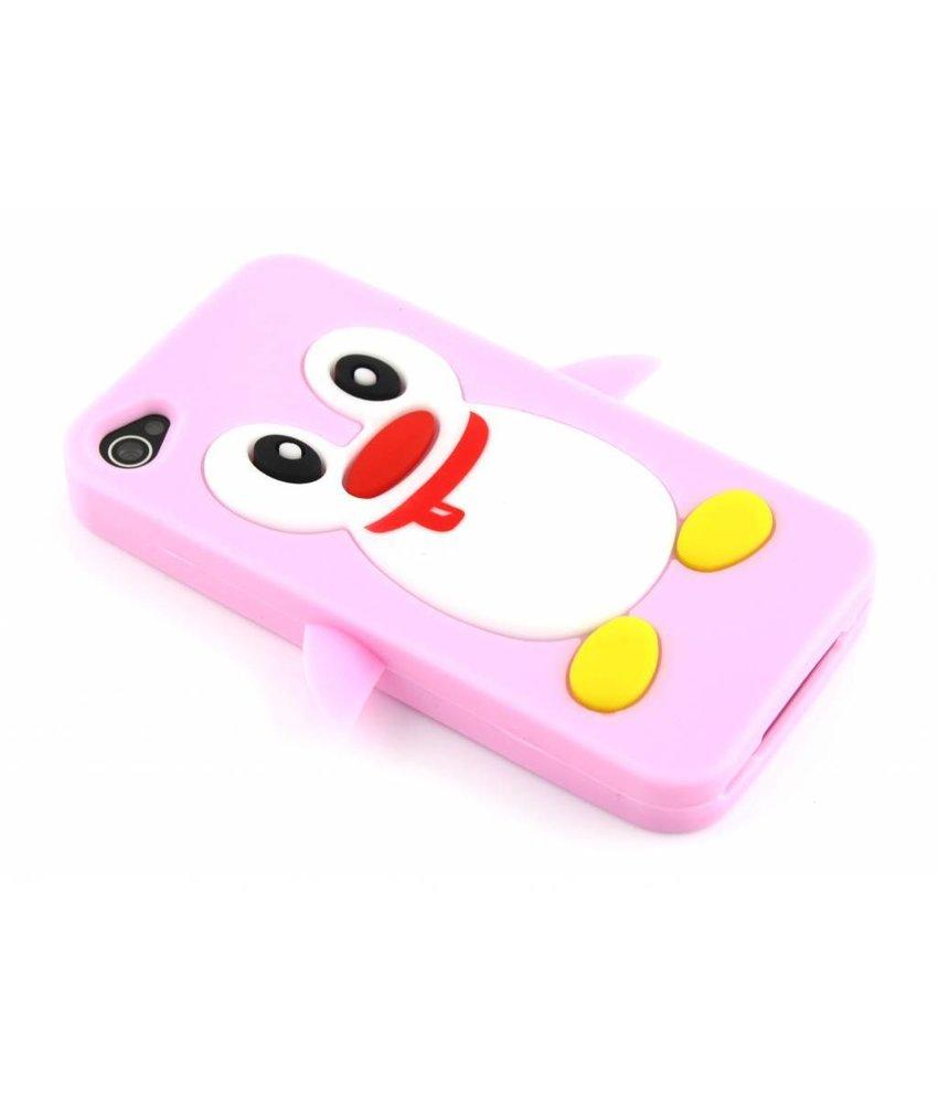 Roze pinguin siliconen hoesje iPhone 4(s)